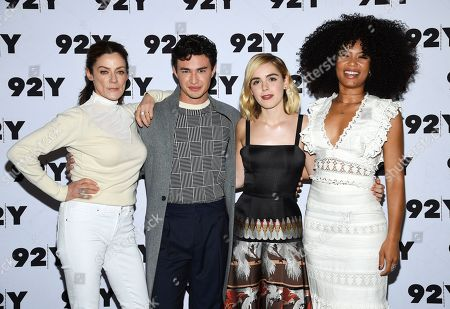 "Michelle Gomez, Gavin Leatherwood, Kiernan Shipka, Jaz Sinclair. Actors Michelle Gomez, left, Gavin Leatherwood, Kiernan Shipka and Jaz Sinclair from Netflix's ""Chilling Adventures of Sabrina"" pose backstage before a live discussion at the 92nd Street Y, in New York"