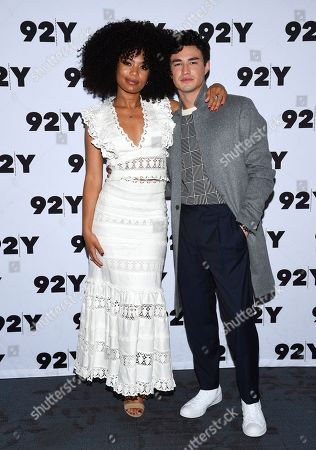 "Stock Image of Jaz Sinclair, Gavin Leatherwood. Actors Jaz Sinclair, left, and Gavin Leatherwood from Netflix's ""Chilling Adventures of Sabrina"" pose backstage before a live discussion at the 92nd Street Y, in New York"