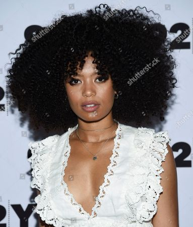 "Jaz Sinclair from Netflix's ""Chilling Adventures of Sabrina"" pose backstage before a live discussion at the 92nd Street Y, in New York"