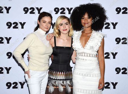 "Michelle Gomez, Kiernan Shipka, Jaz Sinclair. Actors Michelle Gomez, left, Kiernan Shipka and Jaz Sinclair from Netflix's ""Chilling Adventures of Sabrina"" pose backstage before a live discussion at the 92nd Street Y, in New York"