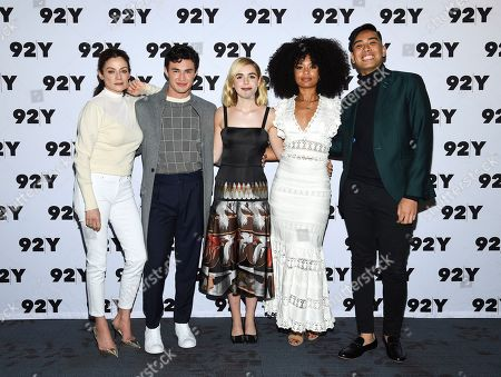"Michelle Gomez, Gavin Leatherwood, Kiernan Shipka, Jaz Sinclair, Gabe Bergado. Actors Michelle Gomez, left, Gavin Leatherwood, Kiernan Shipka and Jaz Sinclair from Netflix's ""Chilling Adventures of Sabrina"" pose with moderator Gabe Bergado backstage before a live discussion at the 92nd Street Y, in New York"