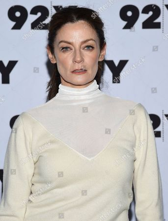 """Michelle Gomez from Netflix's """"Chilling Adventures of Sabrina"""" pose backstage before a live discussion at the 92nd Street Y, in New York"""