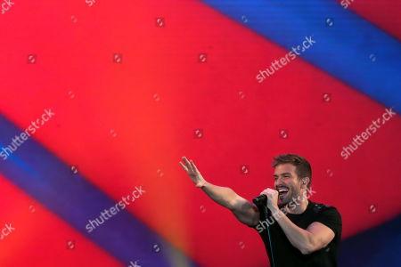 Stock Photo of Pablo Alboran performs on stage during his tour 'Prometo' at the Movistar Arena of Santiago, Chile, 04 April 2019.
