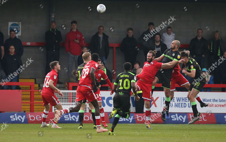 Crawley's Joe McNerney defends his goal during the EFL 2 match between Crawley Town and Forest Green Rovers at the Peoples Pension Stadium in Crawley. 06 April 2019