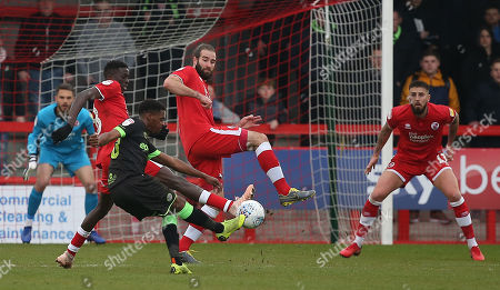 Crawley's Joe McNerney defends a shot from Forest Green's Reece Brown during the EFL 2 match between Crawley Town and Forest Green Rovers at the Peoples Pension Stadium in Crawley. 06 April 2019