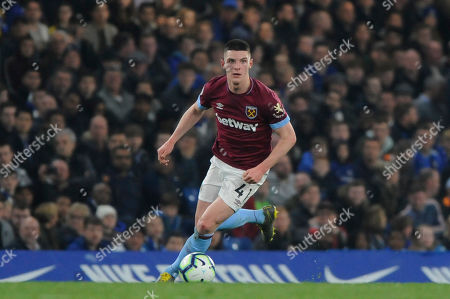 Declan Rice of West Ham in action during the Premier League match between Chelsea and West Ham at Stamford Bridge in London, UK - 8th April 2019
