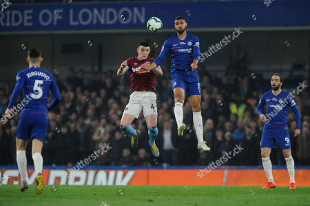 Ruben Loftus-Cheek of Chelsea and Declan Rice of West Ham in action during the Premier League match between Chelsea and West Ham at Stamford Bridge in London, UK - 8th April 2019