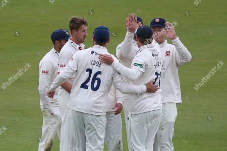Matt Quinn of Essex celebrates with his team mates after taking the wicket of Joe Weatherley during Hampshire CCC vs Essex CCC, Specsavers County Championship Division 1 Cricket at the Ageas Bowl on 5th April 2019