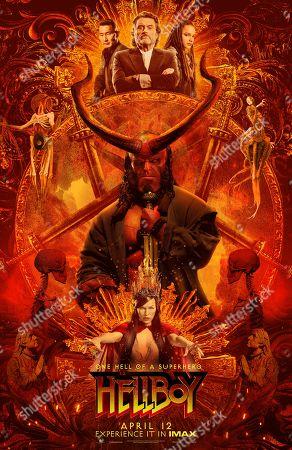 Hellboy (2019) Poster Art. Daniel Dae Kim as Ben Daimio, Ian McShane as Professor Bruttenholm, Sasha Lane as Alice Monaghan, David Harbour as Hellboy and Milla Jovovich as Nimue the Blood Queen