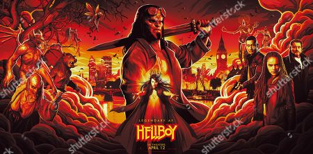 Stock Image of Hellboy (2019) Poster Art. David Harbour as Hellboy, Milla Jovovich as Nimue the Blood Queen, Daniel Dae Kim as Ben Daimio, Sasha Lane as Alice Monaghan and Ian McShane as Professor Bruttenholm