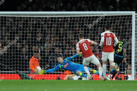 Aaron Ramsey of Arsenal scores the opening goal during the UEFA Europa League quarter final first leg match between Arsenal and Societa Sportiva Calcio Napoli at the Emirates Stadium in London, UK - 11th April 2019