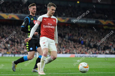 Aaron Ramsey of Arsenal in action during the UEFA Europa League quarter final first leg match between Arsenal and Societa Sportiva Calcio Napoli at the Emirates Stadium in London, UK - 11th April 2019