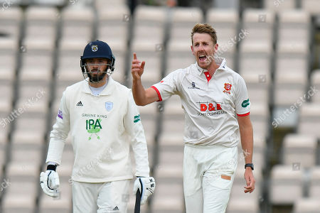 Wicket - Matt Quinn of Essex celebrates taking the wicket of Joe Weatherley of Hampshire during the first day of the Specsavers County Champ Div 1 match between Hampshire County Cricket Club and Essex County Cricket Club at the Ageas Bowl, Southampton