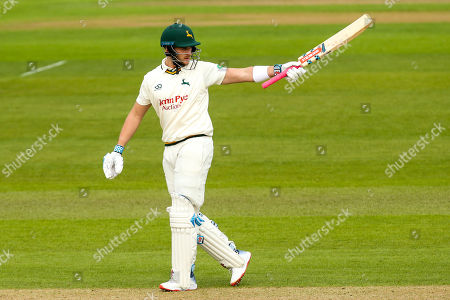 Stock Picture of Joe Clarke of Nottinghamshire celebrates reaching a half century against Yorkshire