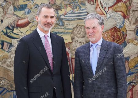 Editorial image of King Felipe VI an audience with Netflix CEO Reed Hastings at Palacio de la Zarzuela, Madrid, Spain - 05 Apr 2019