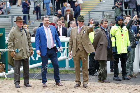 Willie Mullins, Joe Chambers and Rich Ricci greet Min after victory in the JLT Chase at Aintree.