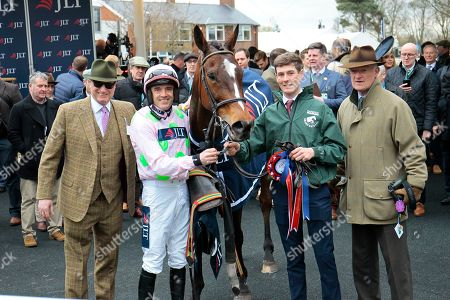 Rich Ricci, Willie Mullins and Ruby Walsh with Min after victory in the JLT Chase at Aintree.
