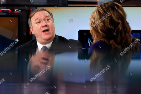 """Mike Pompeo, Maria Bartiromo. U.S. Secretary of State Mike Pompeo is interviewed by Maria Bartiromo during her """"Mornings with Maria Bartiromo"""" program on the Fox Business Network, in New York"""
