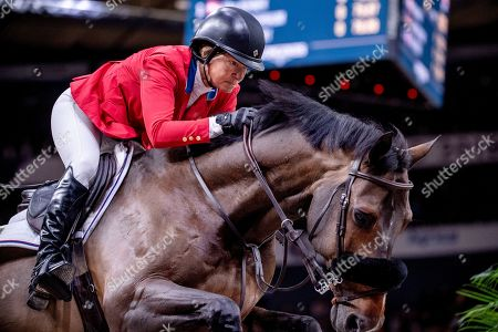Elizabeth Madden of the US rides Breitling LS during the FEI World Cup final 2 show jumping event at Gothenburg Horse Show in the Scandinavium Arena in Gothenburg, Sweden, 05 April 2019.