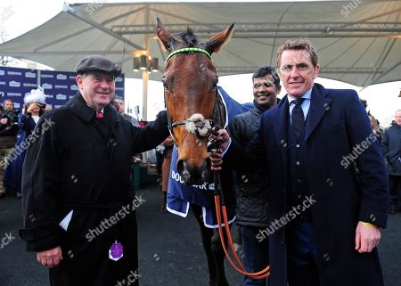 AINTREE. CHAMP won for owner JP McMANUS and SIR ANTHONY McCOY whom he is named after with groom Satyan Sabramni.