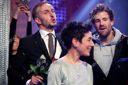 Stock Picture of German satirist and television presenter Jan Boehmermann, German journalist and television presenter Dunja Hayali and Italian-Canadian comedian Luke Mockridge attend the 55th Grimme Award ceremony in Marl, Germany, 05 April 2019. The Grimme-Preis is a German television award.