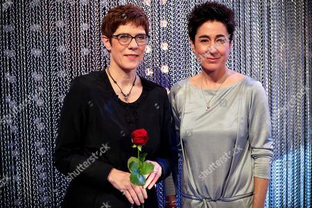Stock Picture of CDU party chairwoman Annegret Kramp-Karrenbauer (L) and German journalist and television presenter Dunja Hayali (R) attend the 55th Grimme Award ceremony in Marl, Germany, 05 April 2019. The Grimme-Preis is a German television award.