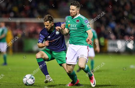 Cork City vs Shamrock Rovers. Rovers Greg Bolger with Gearoid Morrissey of Cork