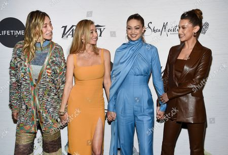 Stock Image of Alana Hadid, Marielle Hadid, Gigi Hadid, Bella Hadid. Alana Hadid, left, Marielle Hadid, Gigi Hadid and Bella Hadid attend Variety's Power of Women: New York presented by Lifetime at Cipriani 42nd Street, in New York