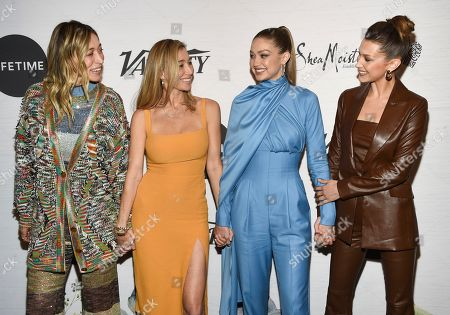 Stock Photo of Alana Hadid, Marielle Hadid, Gigi Hadid, Bella Hadid. Alana Hadid, left, Marielle Hadid, Gigi Hadid and Bella Hadid attend Variety's Power of Women: New York presented by Lifetime at Cipriani 42nd Street, in New York