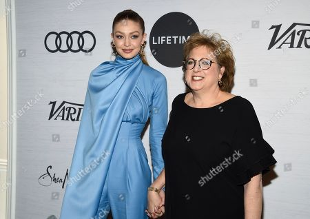 Gigi Hadid, Caryl Stern. Honoree Gigi Hadid, left, and UNICEF USA CEO and president Caryl Stern pose together at Variety's Power of Women: New York presented by Lifetime at Cipriani 42nd Street, in New York