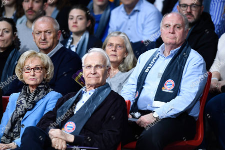 Bayern Munich President Uli Hoeness (R), his wife Susanne Hoeness and Bayern Munich supervisory board member and former Bavarian Prime Minister Edmund Stoiber with his wife Karin Stoiber attend the Euroleague basketball match between FC Bayern Munich and Herbalife Gran Canaria in Munich Germany, 05 April 2019.