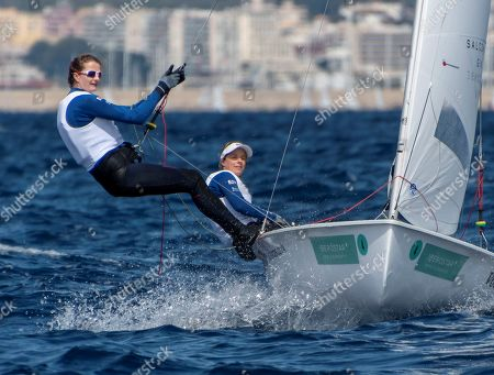 Stock Image of Briatin's Fernanda Hannah Mills and Eilidh Mcintyre in action during the 470 category of the 50th Princess Sofia Sailing Cup edition in Palma de Mallorca, Balearic Islands, Spain, 05 April 2019.