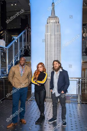 Daniel Bryan, Becky Lynch, Bobby Lashley. WWE Superstars Bobby Lashley, from left, Becky Lynch and Daniel Bryan visit the Empire State Building to promote WrestleMania 35, in New York