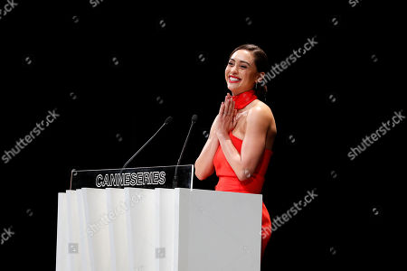 Lindsey Morgan smiles on stage during the opening ceremony of the Cannes Series Festival, in Cannes, 05 April 2019. The event runs from 05 to 10 April.