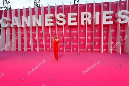 Lindsey Morgan poses on the pink carpet before the opening ceremony of the Cannes Series Festival, in Cannes, 05 April 2019. The event runs from 05 to 10 April.