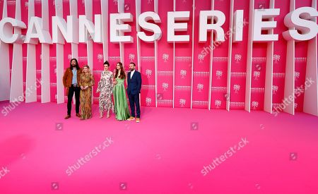 Jury members of the Cannes Series Festival , French musician Robin Coudert aka Rob, Canadian actress Katheryn Winnick, British actress Emma Mackey, Italian actress Miriam Leone and Swiss director Baran bo Odar pose on the pink carpet before the opening ceremony of the Cannes Series Festival, in Cannes, 05 April 2019. The event runs from 05 to 10 April.