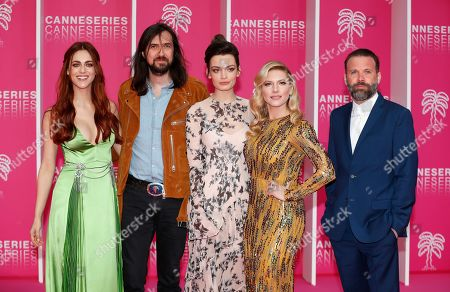 Jury members of the Cannes Series Festival , Italian actress Miriam Leone, French musician Robin Coudert aka Rob, British actress Emma Mackey, Canadian actress Katheryn Winnick and Swiss director Baran bo Odar pose on the pink carpet before the opening ceremony of the Cannes Series Festival, in Cannes, 05 April 2019. The event runs from 05 to 10 April.