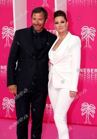 Stock Picture of Franck Semonin (L) and his wife Helene Semonin (R) pose on the pink carpet before the opening ceremony of the Cannes Series Festival, in Cannes, 05 April 2019. The event runs from 05 to 10 April.