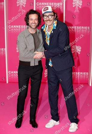 Romain Duris (L) and Philippe Rebbot (R) pose on the pink carpet before the opening ceremony of the Cannes Series Festival, in Cannes, 05 April 2019. The event runs from 05 to 10 April.