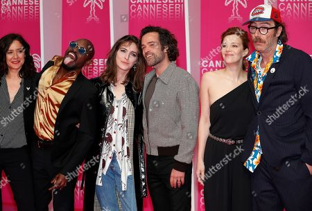 'Vernon Subutex' cast and crew , French film director Cathy Verney, Congolese singer Athaya Mokonzi, French singer Flora Fischbach aka Fishbach, French actors Romain Duris, Celine Sallette and Philippe Rebbot pose on the pink carpet before the opening ceremony of the Cannes Series Festival, in Cannes, 05 April 2019. The event runs from 05 to 10 April.