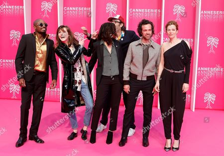 'Vernon Subutex' cast and crew , Congolese singer Athaya Mokonzi, French film director Cathy Verney, French singer Flora Fischbach aka Fishbach, French actors Philippe Rebbot, Romain Duris and Celine Sallette pose on the pink carpet before the opening ceremony of the Cannes Series Festival, in Cannes, 05 April 2019. The event runs from 05 to 10 April.