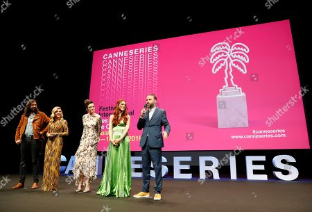 Jury members of the Cannes Series, French musician Robin Coudert aka Rob (L), Canadian actress Katheryn Winnick (2-L), French-British actress Emma Mackey (C), Italian actress Miriam Leone (2-R) and Swiss director Baran bo Odar (R) attend the opening ceremony of the Cannes Series Festival in Cannes, 05 April 2019. The event runs from 05 to 10 April.