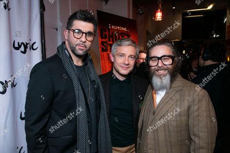 Simon Lipkin (Professor Goodman), Martin Freeman and Andy Nyman (Author/Director)