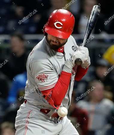 Stock Picture of Cincinnati Reds' Jesse Winker is hit by a pitch from Pittsburgh Pirates starting pitcher Joe Musgrove in the third inning of a baseball game in Pittsburgh