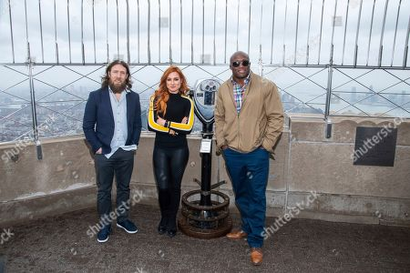 Daniel Bryan, Becky Lynch, Bobby Lashley. WWE Superstars Daniel Bryan, from left, Becky Lynch and Bobby Lashley visit the Empire State Building to promote WrestleMania 35, in New York