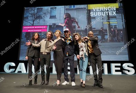 Director Cathy Vernei, and actors of 'Vernon Subutex' Romain Duris, Celine Sallette, Philippe Rebbot, Flora Fischbach and Athaya Mokonzi