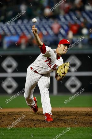 Philadelphia Phillies' David Robertson in action during a baseball game against the Minnesota Twins, in Philadelphia