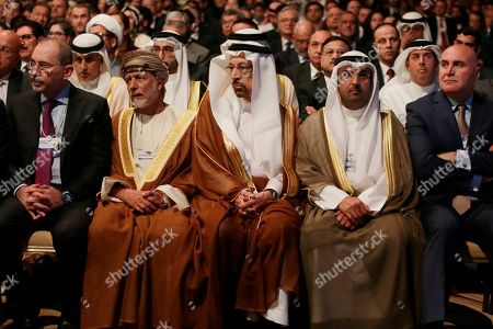 (First row L-R) Ayman Safadi, Minister of Foreign Affairs and Expatriates, Yusuf bin Alawi bin Abdullah, Omani Foreign Minister, Khaled Al-Falih, Minister of Energy Industry, and Mineral Resources of Saudi Arabia, Nayef Al-Hajraf, Finance Minister of Kuwait, and Muhammad Shehadeh, Jordan State Minister for Investment Affairs, sit during the opening of the 17th World Economic Forum on the Middle East and North Africa (WEF) at the Convention Center at the Dead Sea, Jordan, 06 April 2019. The 17th WEF is taking place at the Dead Sea in Jordan from 06 to 07 April 2019. It usually takes place every two years.