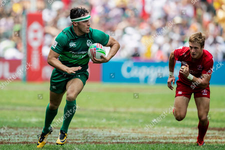 Stock Picture of Ireland vs Russia. Ireland's Greg O'Shea runs in a try