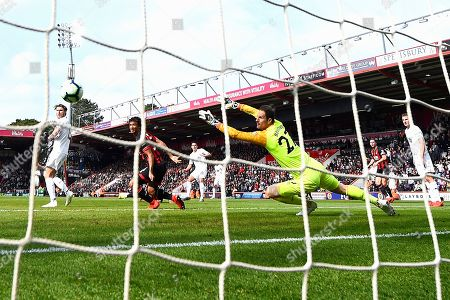 Ashley Westwood of Burnley middle fires past AFC Bournemouth keeper Asmir Begovic for the second goal during AFC Bournemouth vs Burnley, Premier League Football at the Vitality Stadium on 6th April 2019